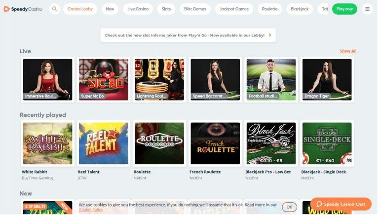 speedy casino screenshot
